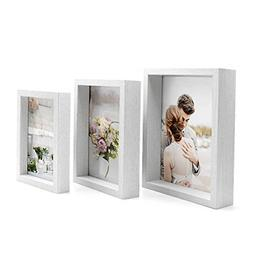White Picture Frames 4x6 5x7 And 6x8 Three Display Shadow Bo