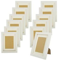 KRII White Picture Frames 5x7  Made of Natural Solid Wood, D