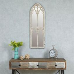Wood Cathedral Framed Decorative Mirror in White wash