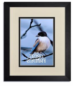 Madeline Black Wood Picture Frames with Warm White/Black Mat