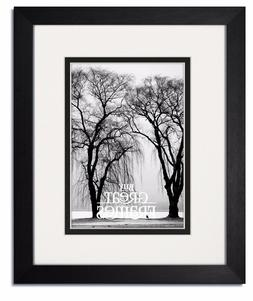Madeline Black Wood Picture Frames with White/Black Mats and