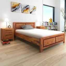 Wooden Platform Bed Frame Solid Acacia Wood Queen Size Home