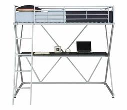 Dhp X-Loft Metal Bunk Bed Frame With Desk - Silver With Spac